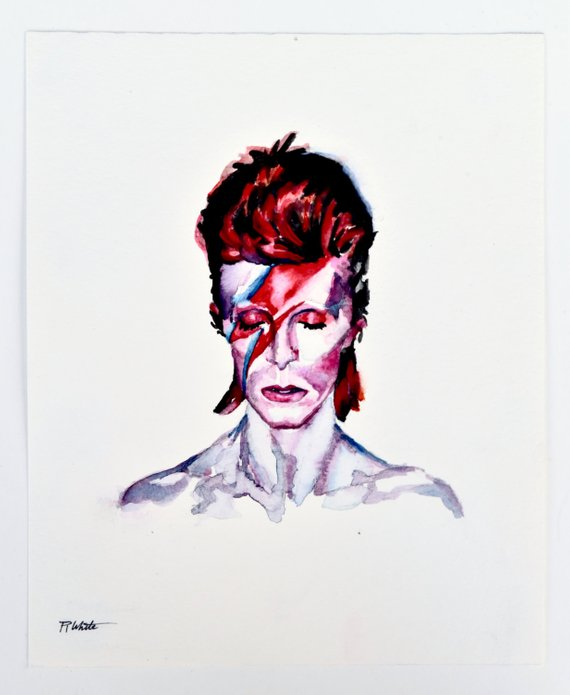 570x695 David Bowie Aladdin Sane Watercolor Painting Print Of Etsy