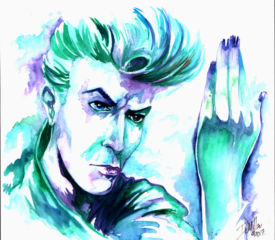 957x835 David Bowie Original Watercolor By Dw Miller By Conceptsbymiller