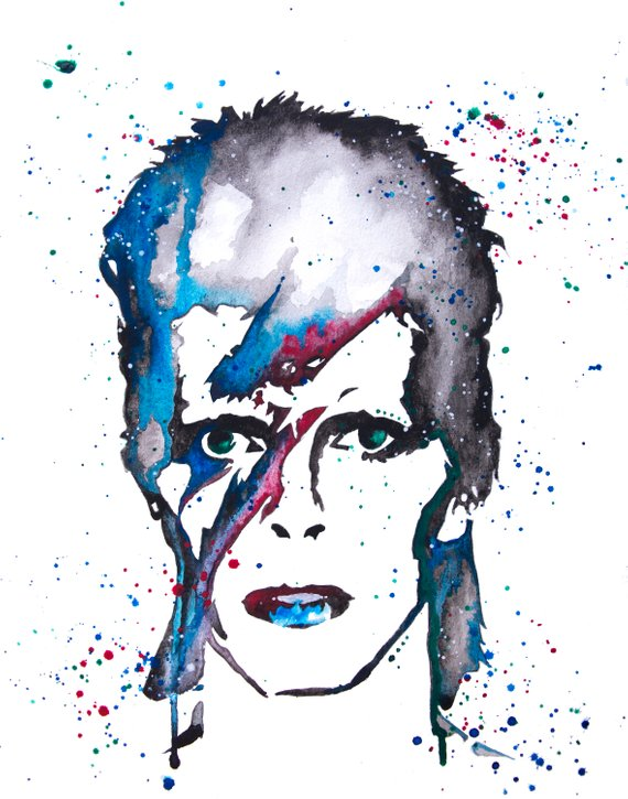 570x725 David Bowie Silhouette Watercolor Ziggy Stardust David Etsy