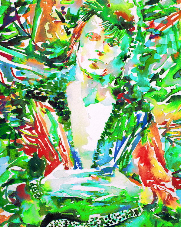 598x747 David Bowie Watercolor Portrait.2 Poster By Fabrizio Cassetta