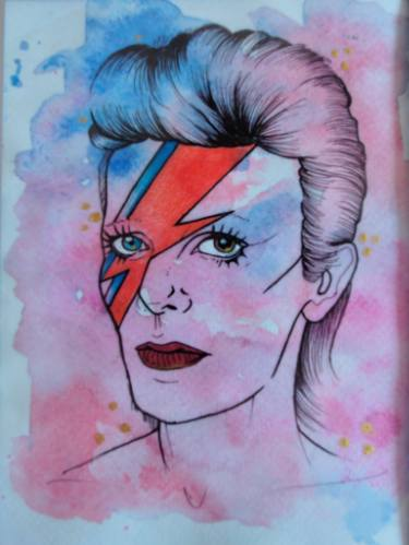 375x499 David Bowie Watercolour Ziggy Stardust Portrait Painting By