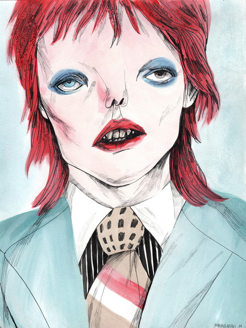 500x668 Maria Herreros Life On Mars David Bowie Watercolor, Graphite