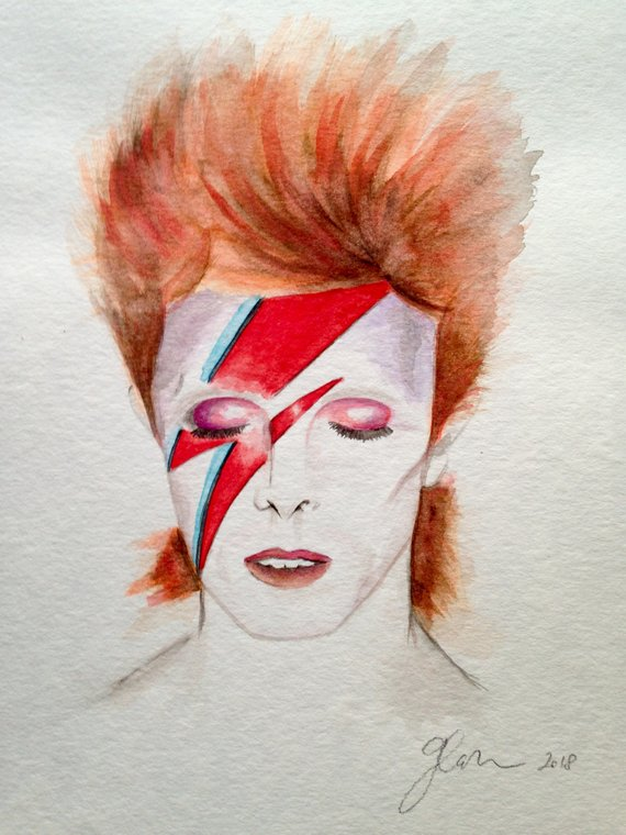 570x760 Original David Bowie Watercolor Painting Etsy