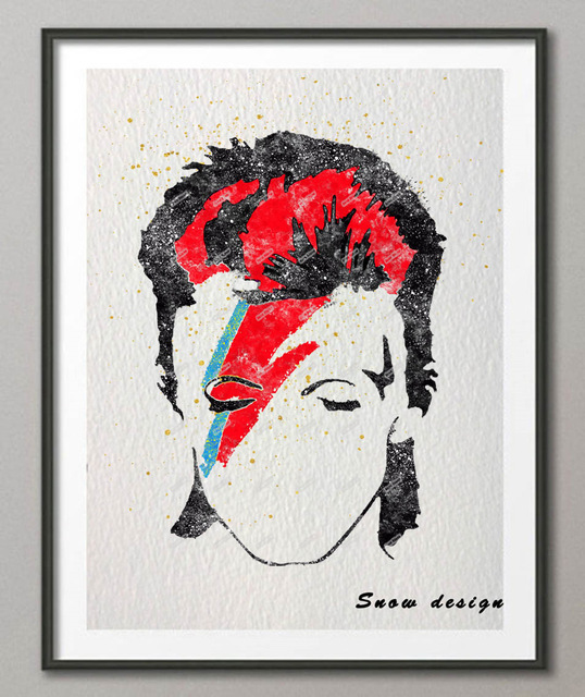 538x640 Original Watercolor David Bowie Poster Prints Canvas Painting