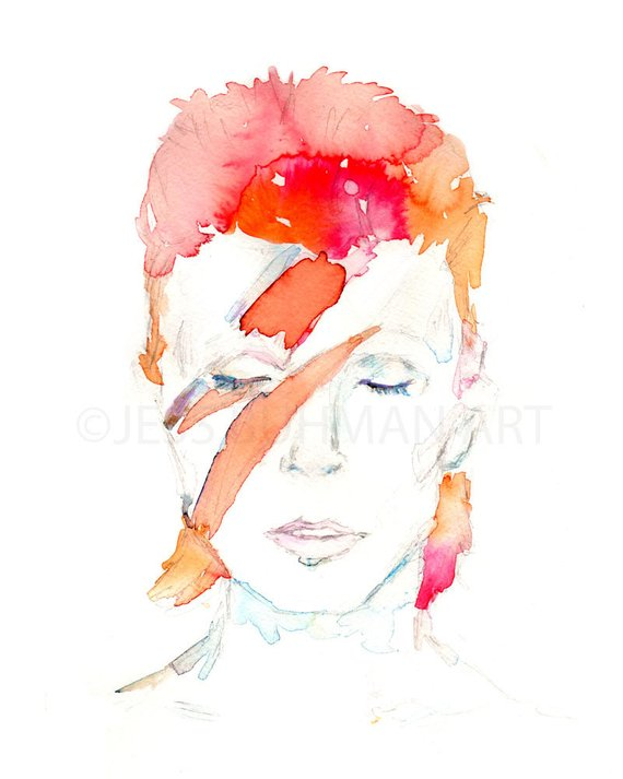 570x713 Bowie Painting Portrait Of Man David Bowie Print Watercolor Etsy