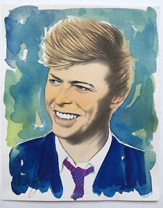 235x300 David Bowie 3, Original Portrait, Unique Watercolor , On Arches