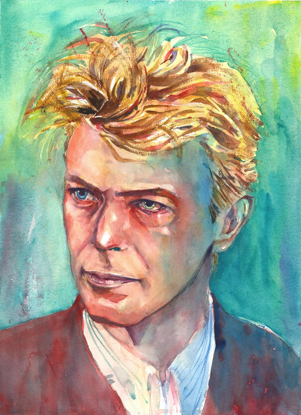 1156x1592 David Bowie, Watercolor On Paper, 18 X 24 Art