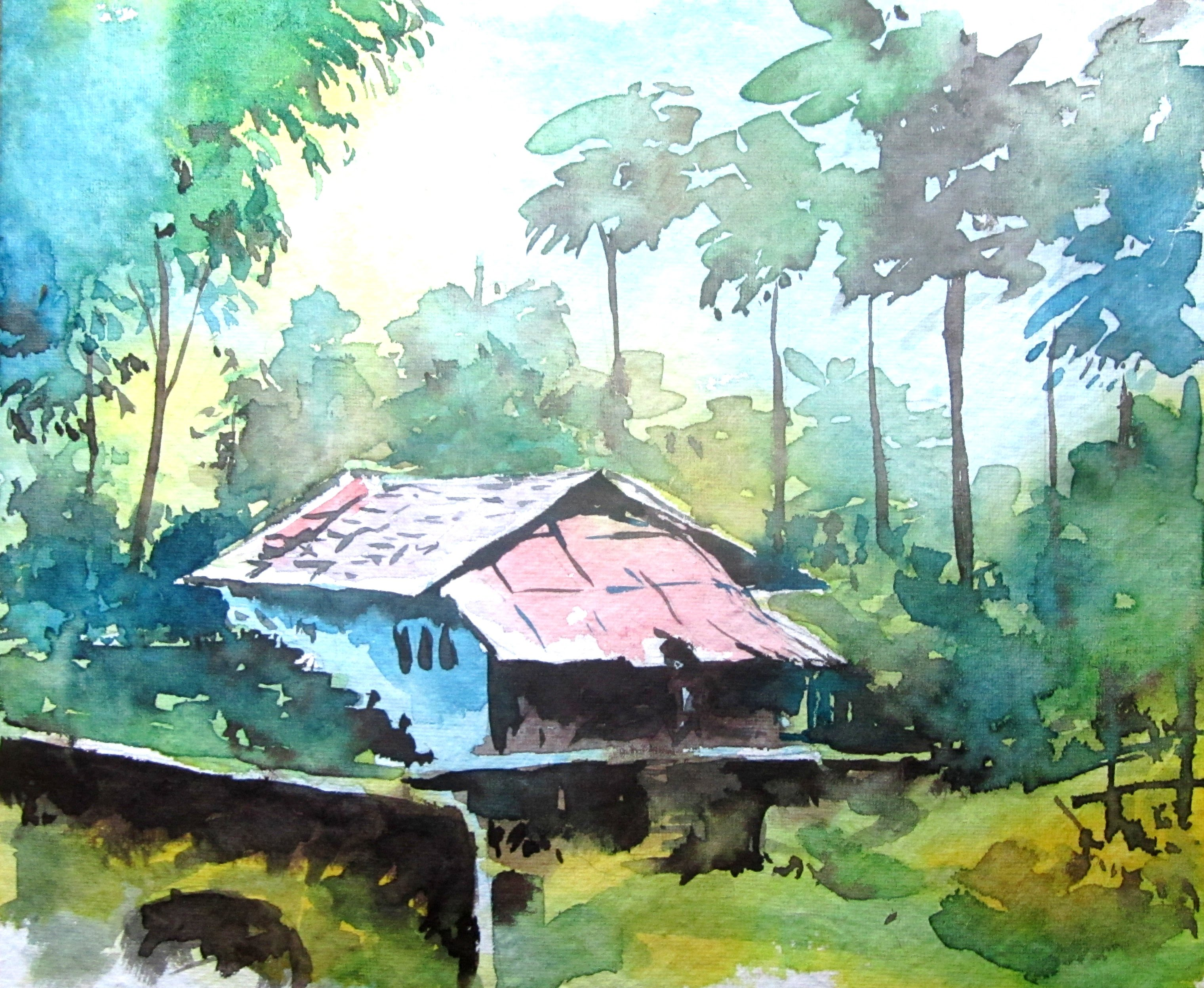 3040x2496 Simple Landscape Painting, Watercolor Painting For Beginners