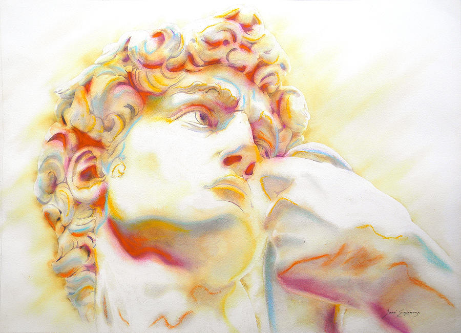 900x650 The David By Michelangelo. Tribute Painting By J