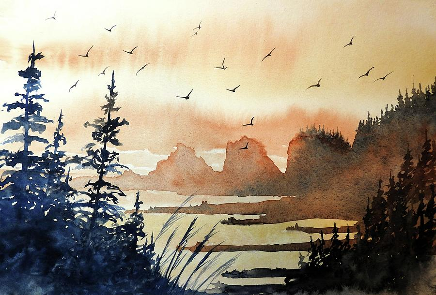 900x610 Bird Heaven, Watercolor Painting By David K Myers