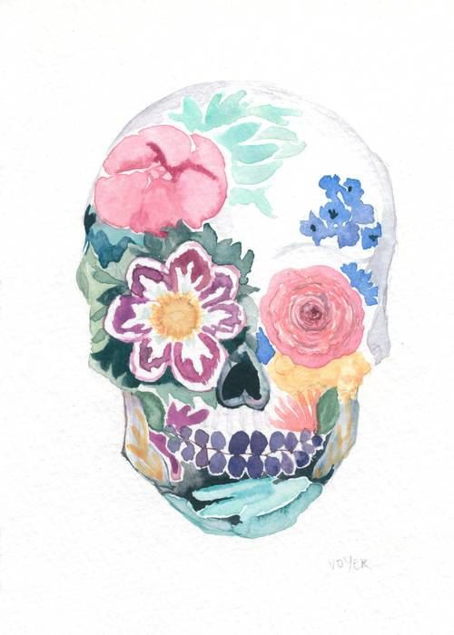 500x700 Day Of The Dead Watercolor Sugar Skull 5 X 7 Giglee Print On