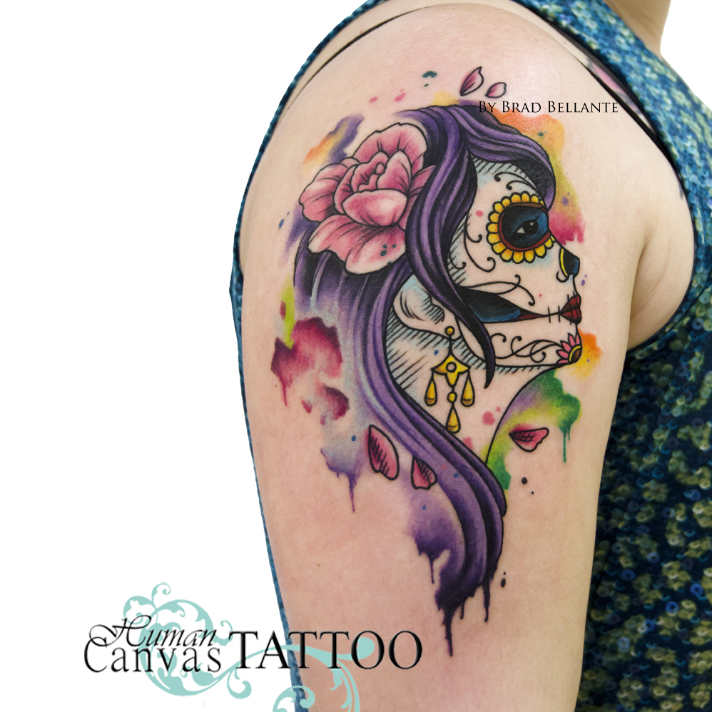 998x998 Day Of The Dead Watercolor Tattoo