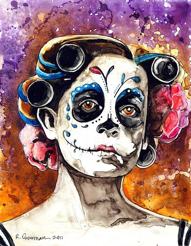 390x500 Day Of The Dead Watercolors Traditional Art Dia De