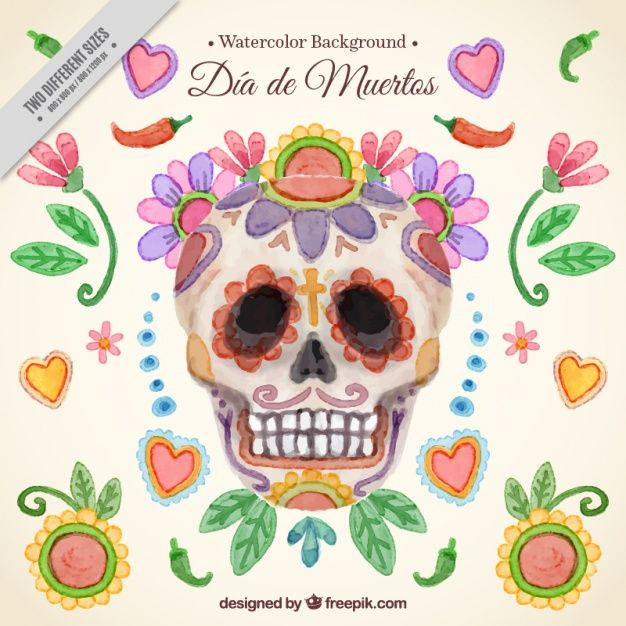 626x626 Day Of The Dead Watercolor Skull Background Free Vector My