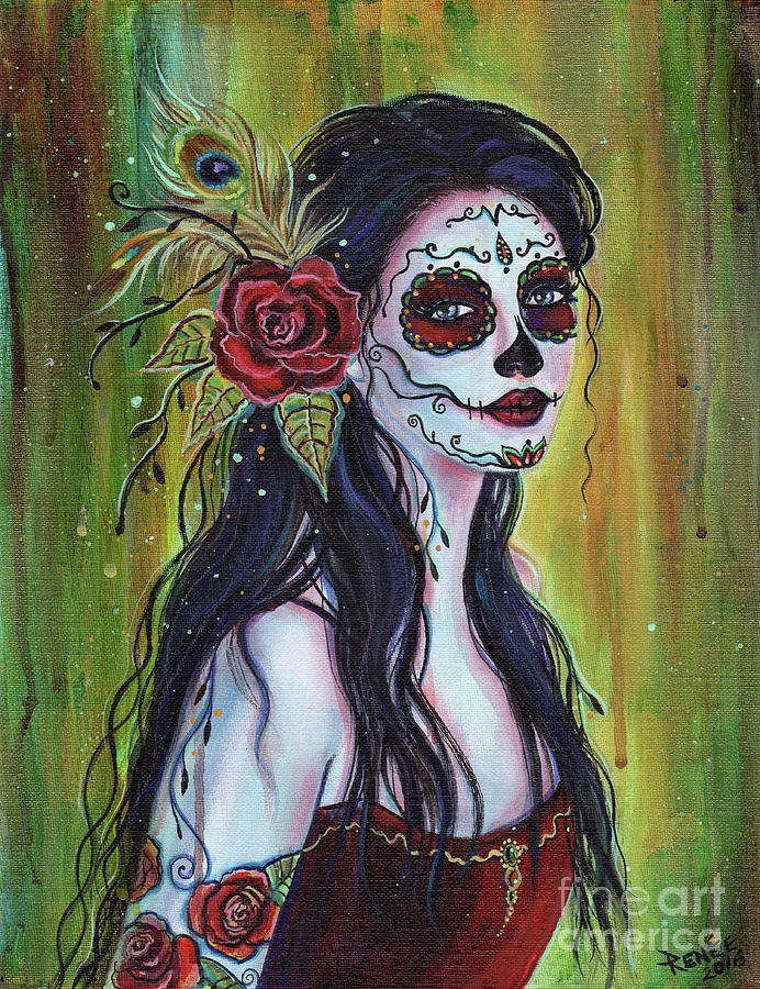 692x900 Lila Day Of The Dead Art Painting By Renee Lavoie
