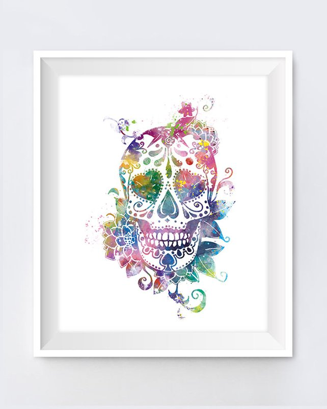 642x803 Sugar Skull Art Print Day Of The Dead Watercolor Skull Etsy