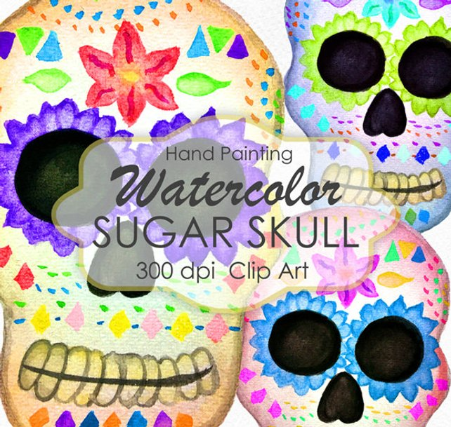 642x609 Sugar Skull Clip Art Watercolor Clip Art Day Of The Dead Etsy