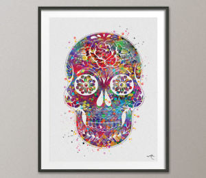 300x260 Sugar Skull Day Of The Dead Watercolor Print Geekery Wall Art