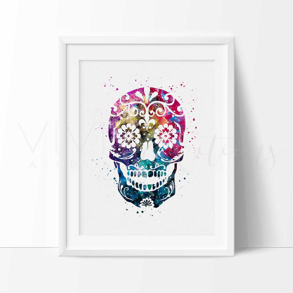 1200x1200 Sugar Skull Watercolor Art Print Wall Decor