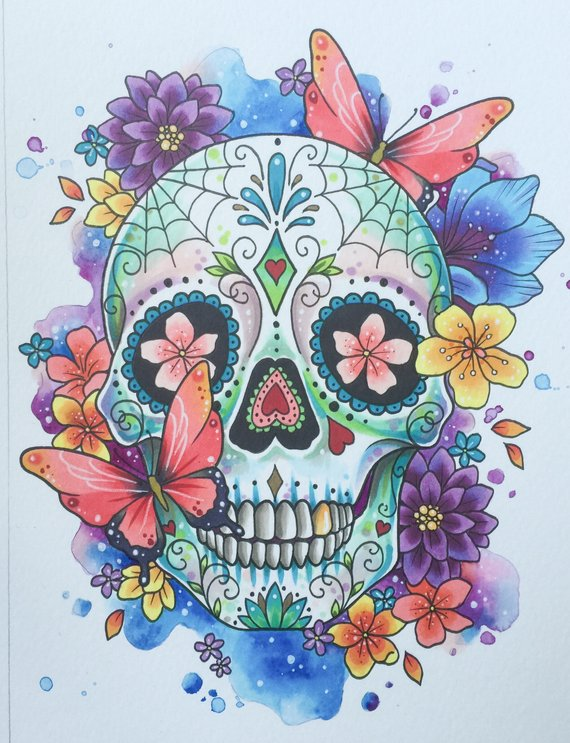 570x743 Sugar Skull Print Day Of The Dead Tattoo Print Mexican Etsy