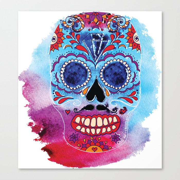 700x700 Watercolor Day Of The Dead Sugar Skull. Mexican Skull Illustration
