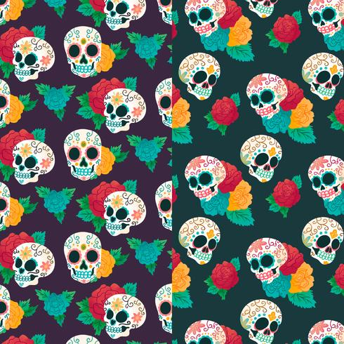 490x490 Watercolor Pattern Day Of Dead With Sugar Skull And Flowers