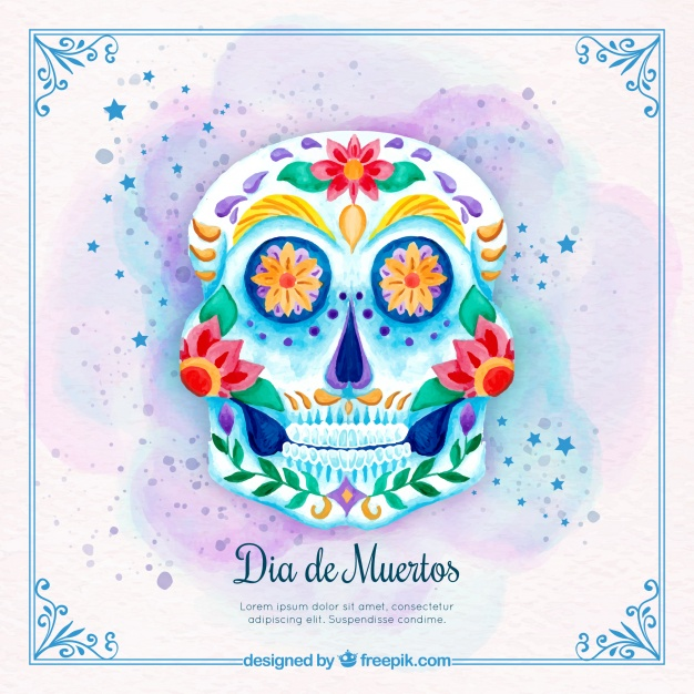 626x626 Watercolor Background With Mexican Day Of The Dead Skull Vector