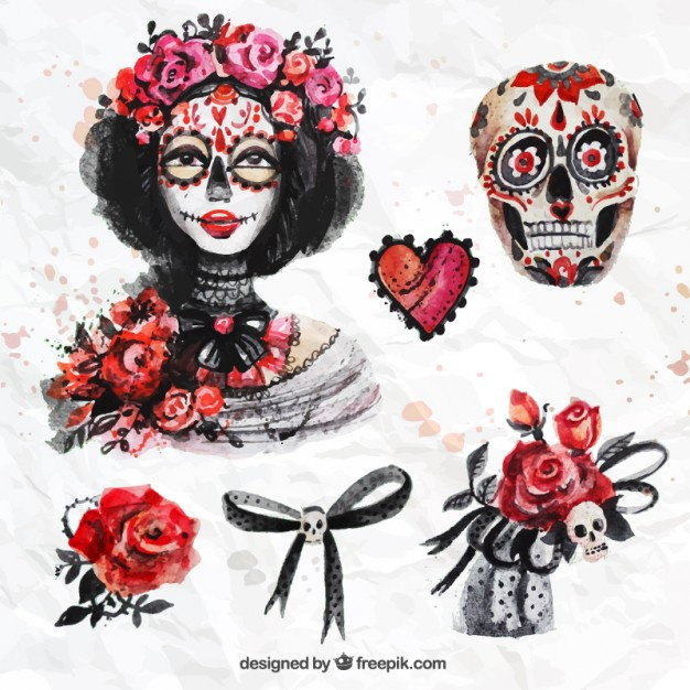 626x626 Watercolor Day Of The Dead Elements Vector Free Download