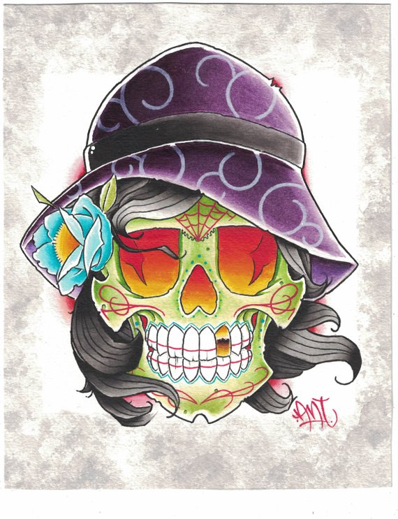 570x743 Skull Painting Watercolor Day Of The Dead Dia De Los Muertos Etsy