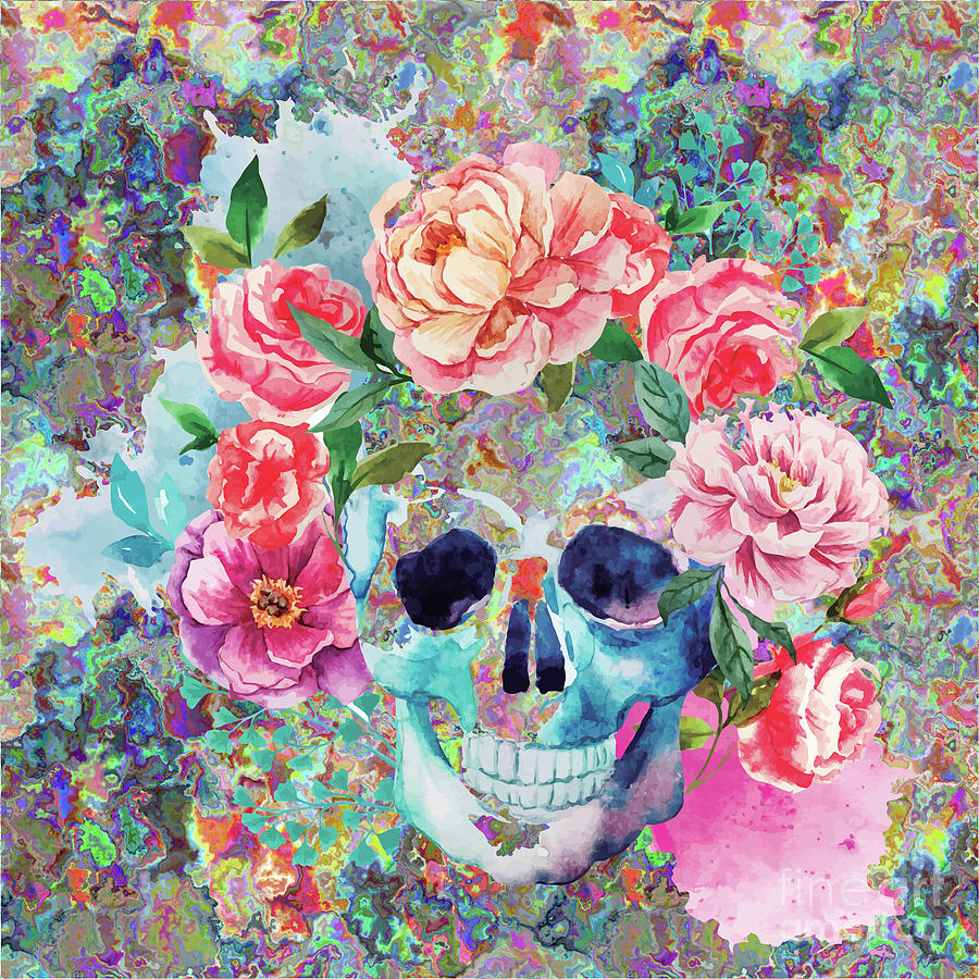 900x900 Day Of The Dead Watercolor Digital Art By Digital Art Cafe