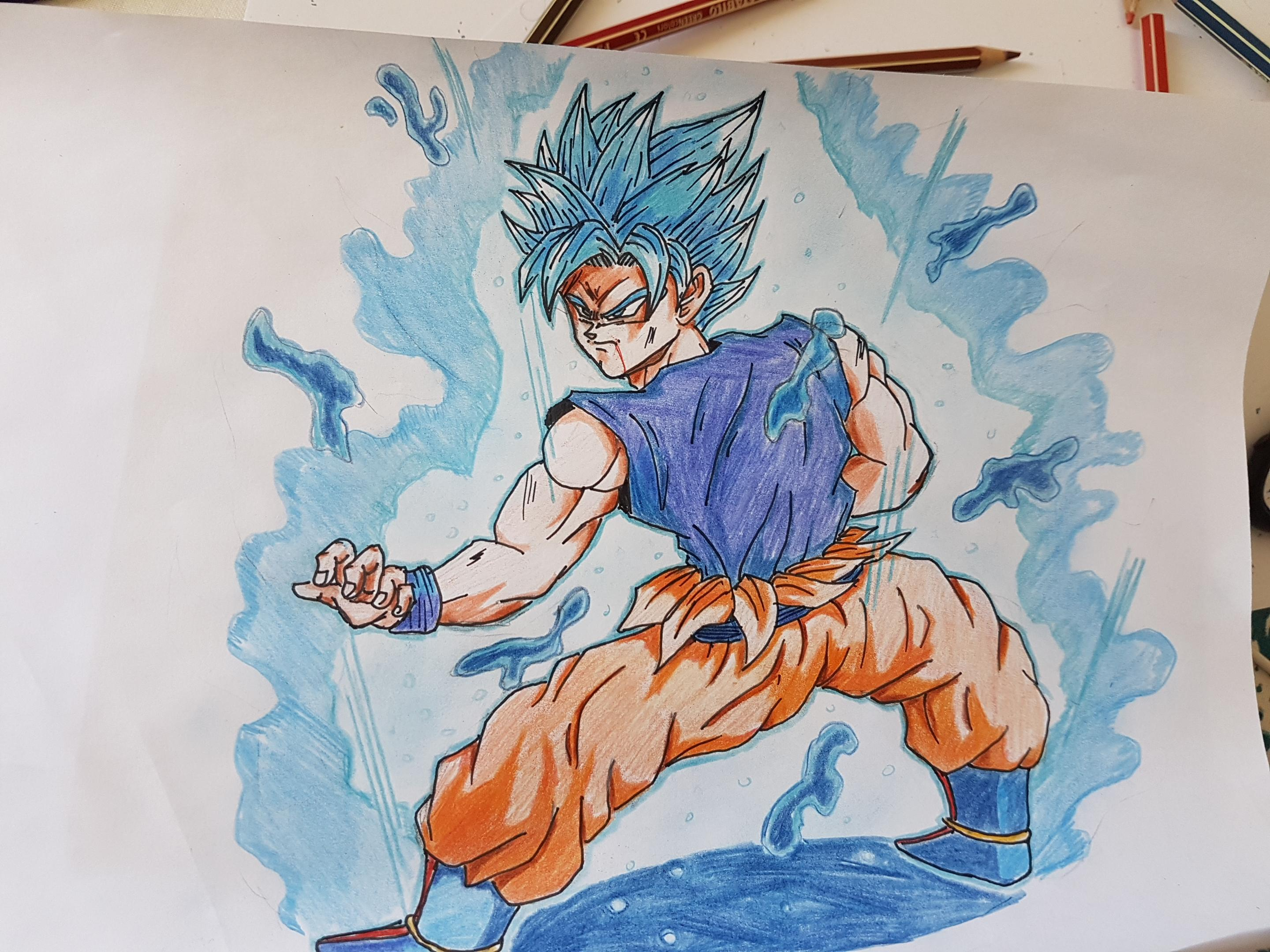 2880x2160 Fanart] Goku Super Saiyan Blue Drawing Dbz