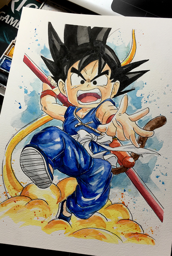 600x891 Goku Watercolor On Wacom Gallery