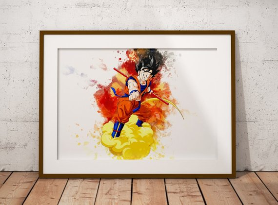 570x422 Goku Watercolor Wall Poster Anime Watercolor Art Print Super Etsy