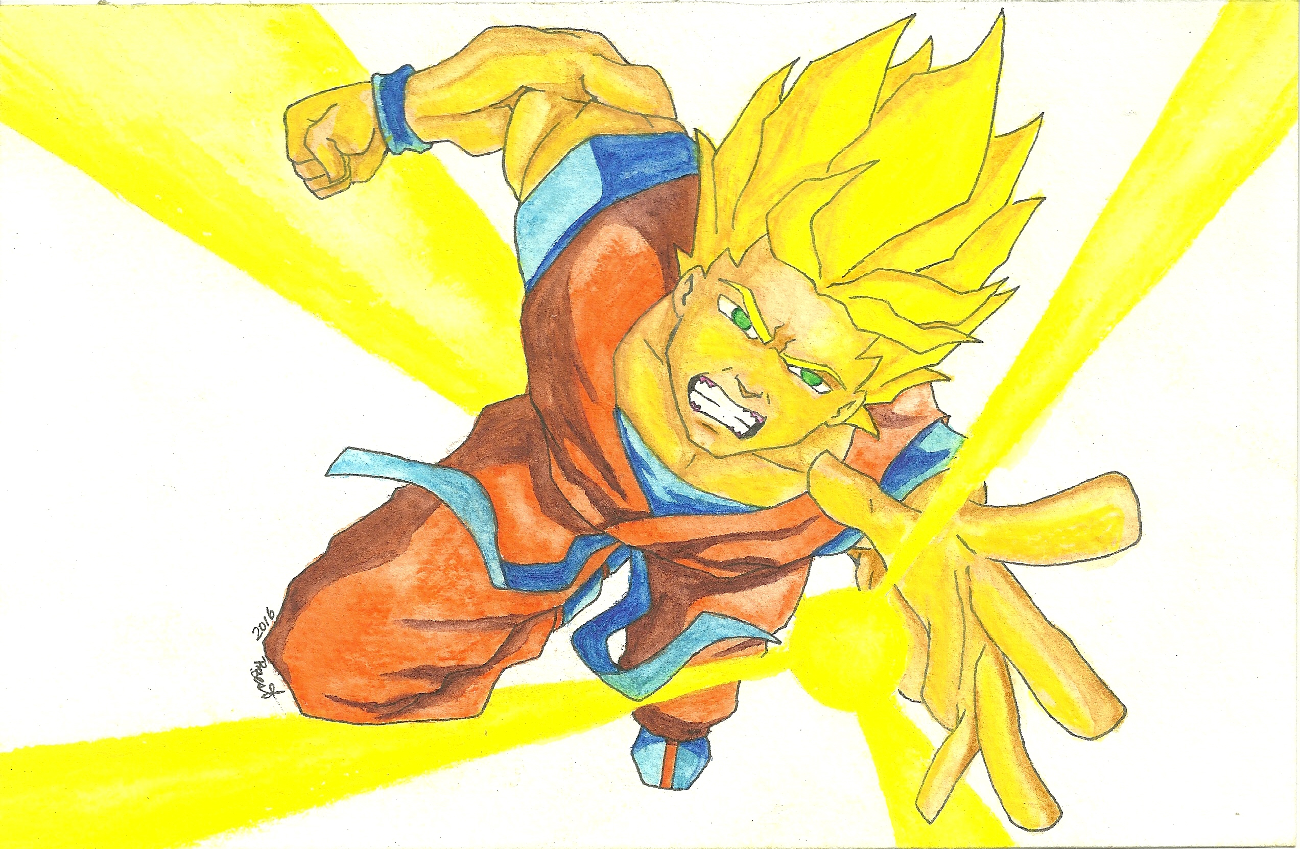 2545x1662 Original Art Super Sayan Goku Six Love Creative