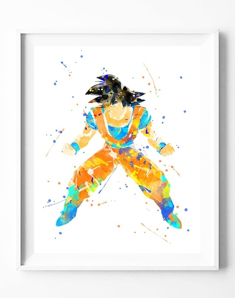 472x600 Wish Dragon Ball Goku Watercolor Painting Canvas Art Print