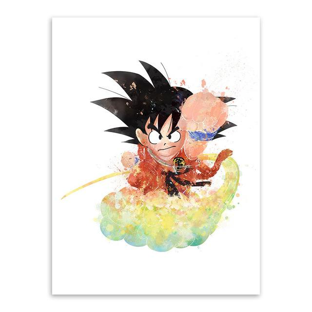 640x640 Cool Dragon Ball Canvas Poster Son Goku [Watercolor Or