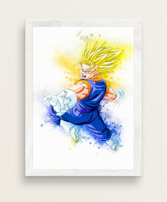 570x692 Dbz Art Print Anime Watercolor Art Print Goku Vegeta Gohan Etsy