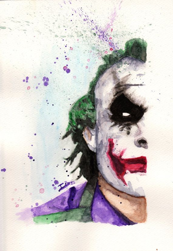 570x825 Joker Dc Batman Comic Watercolor Art Print Decor Paint