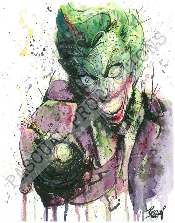 570x724 Joker Villain Superhero Dc Comics Watercolor By Pascualproductions