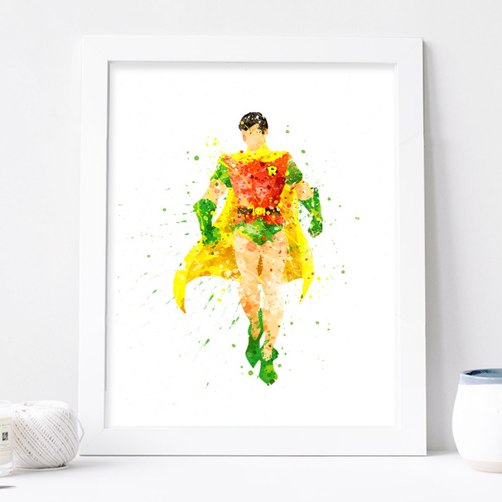 1024x1024 Robin Print, Superhero Robin Batman Watercolor Nursery Art Bedroom