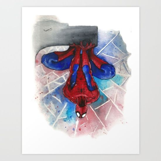 550x550 Spider Man Up Is Down Watercolor Art Print Marvel Dc Comics