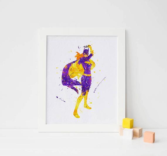 570x533 Superhero Batgirl Watercolor Poster Batman Art Batman Wall Decor