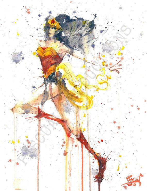 570x741 Wonder Woman Superhero Dc Comics Watercolor By Pascualproductions