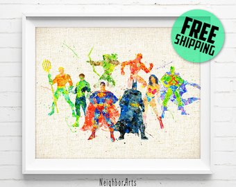340x270 Batman Print Dc Comics Justice League Superhero Watercolor