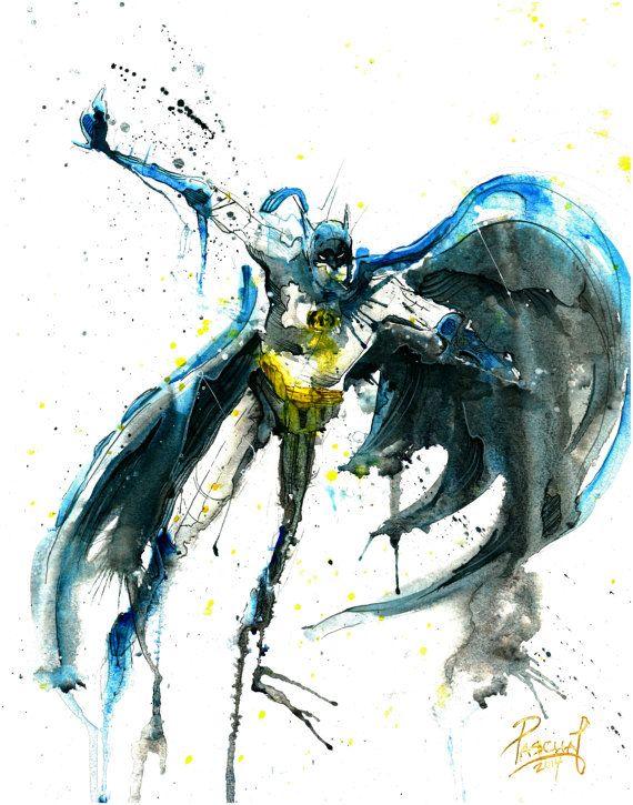 570x725 Batman Superhero Dc Comics Watercolor By Pascualproductions Art