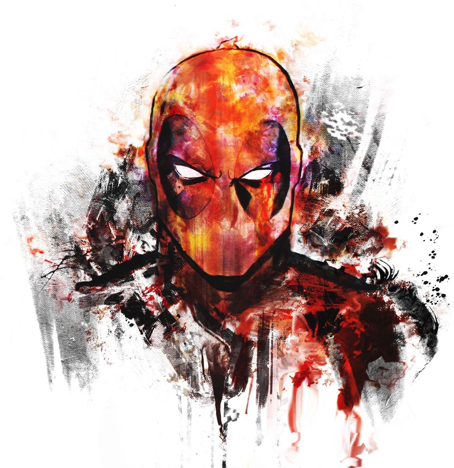 1552x1600 00117 Deadpool Marvel Art Watercolor Image Poster Print Ebay
