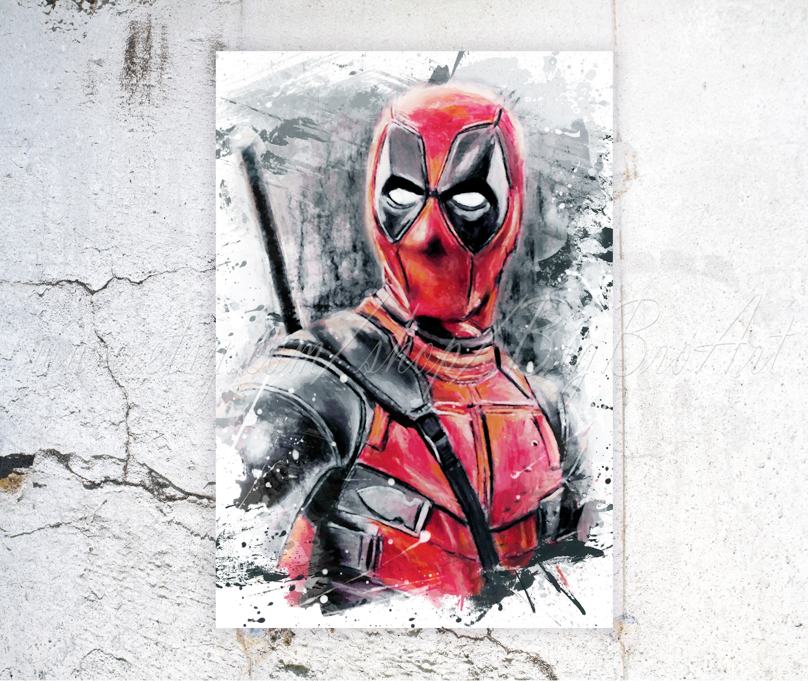 2700x2277 Deadpool Art Print Deadpool Watercolor Poster Home Decor Etsy