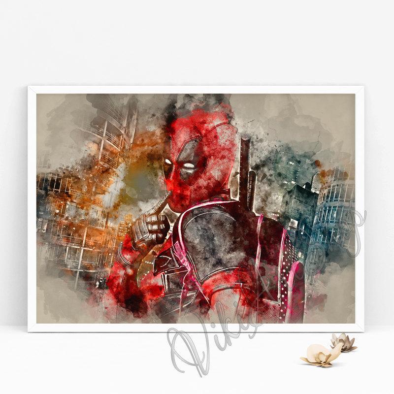 800x800 Deadpool Watercolor Art Poster Vikitogifts