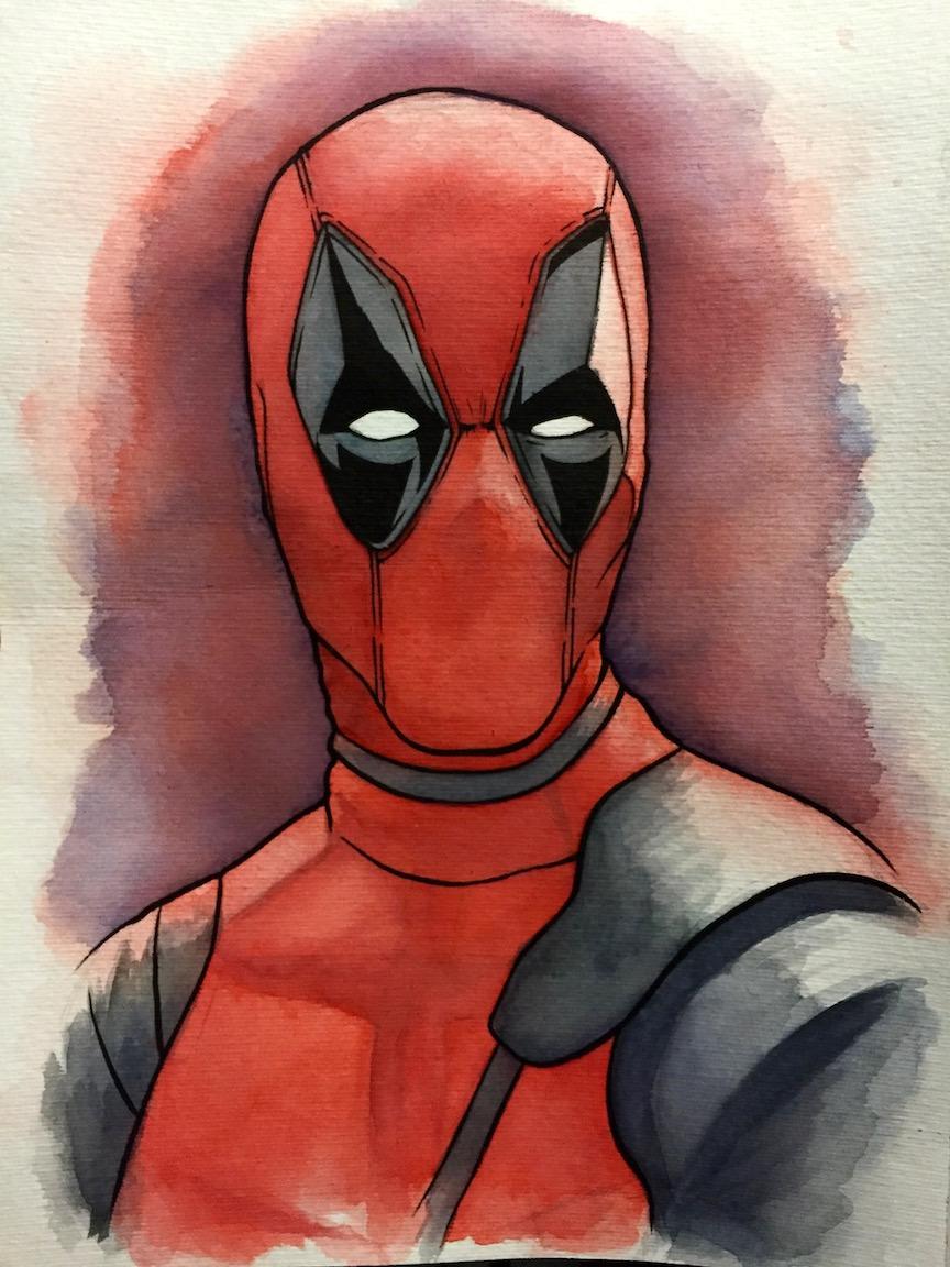 864x1152 Deadpool Watercolor Illustration Don Suratos Art