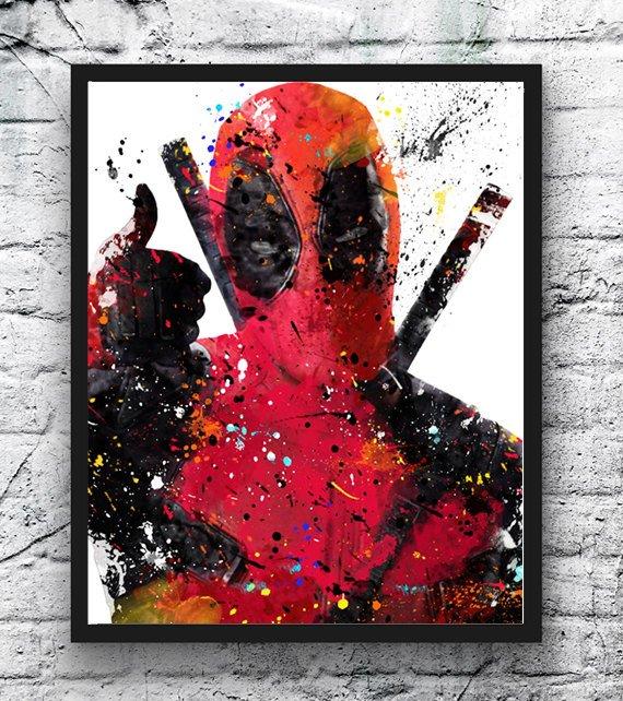 570x642 Deadpool Watercolor Print Deadpool Art Superhero Poster Etsy
